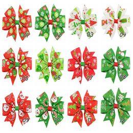 Wholesale Christmas Grosgrain Ribbons - 3 inch Baby Bow Hair Clips Christmas Grosgrain Ribbon Bows WITH Clip Snow Baby Girl Pinwheel Hairpins Xmas Hair Pin Accessories