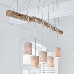 Candelabros de la naturaleza online-Moda moderna que cuelga grandes arañas de madera y cerámica / DIY Moderna naturaleza blanca lámparas de madera iluminación de la cocina