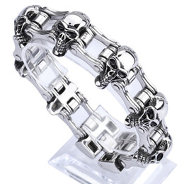 "Wholesale Mens Heavy Stainless Steel Chain - 23mm European fashion mens stainless steel biker jewelry heavy bike chain bracelets 8.46"" Good Gift"