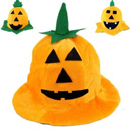 Wholesale Wholesale Hats Makeup - Halloween Supplies Halloween Makeup Dresses Performance Props Multiple Style Pumpkin Hat Pumpkin Cap 45g for Kid 14 years old or older