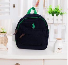 Wholesale Bow Canvas Backpack - Children polo bags anti-lost canvas backpack Kids 100% cotton mochila infantil High quality satchel