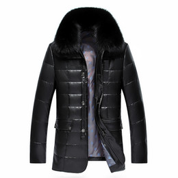 Wholesale Pure Trims - Wholesale- Winter Jacket Men Parka 2016 White Duck Down Jacket Men Thick Casual Coat Pure Fox Fur Collar Warm Down Jacket Plus Size