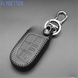 Wholesale Remote Control Jeeps - FLYBETTER Car Leather Remote Control Car Key Cover Case For Jeep Compass Grand Cherokee 3Buttons Smart Key L1974