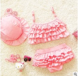 Wholesale Korean Cake Girl - Baby Girls Ruffle Swimwear Tiered Cake Kids Beach Wear Summer Princess 3pcs Sets Korean Fashion Children Bikini Swimsuit F238