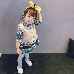 Wholesale Snowflake Clothing Baby - Baby Girls sets Kids Tassel single-breasted waistcoat+Snowflake Printed A-line Dress 2pcs Suits Child Outfits Toddler Kids Clothing G1183