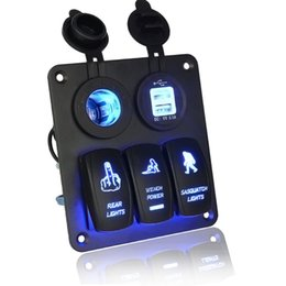 Wholesale Light Switch Panel Car - DHL Fedex 5Set 5PIN Car Panel Combination Type Switch DC12V   24V With Dual USB Car Charger Blue Light Car-styling High Quality