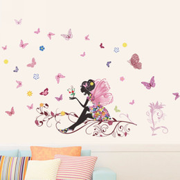 Wholesale Solid Acrylic Ornaments - 50x70cm Fairy Flower Butterfly Stickers Decal Decoration DIY Nursery Kids Baby Girl Room Wall Sticker Home Ornaments Mayitr New