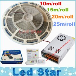 Wholesale Waterproof Lighting Wireless - 10m 15m 20m 25m Led Rgb Light Strips Waterproof 5050 Led Strip 60LEDs m + 2.4G Wireless RF Remote Control + Power Supply