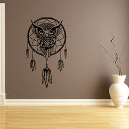 Wholesale Owl Wall Mural - Black Owl Feather Dream Catcher Wall Sticker Waterproof Decals Mural Decal DIY Home Decor Free Shipping