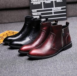 Wholesale Red Punk Boots - Fashion Men's Genuine Leather Ankle Boots Man Metal Pointed Toe Punk British Style Chelsea Boot Mens Casual Shoes