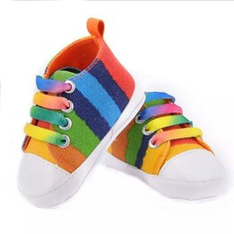 Wholesale Toddler White Canvas Shoes Wholesale - 13color 2017 Baby Boys Girls Rainbow Canvas shoes soft bottom Non-slip Sneakers toddler shoes Kids first walker shoes sports footwear B557