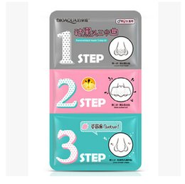 Wholesale nose acne strips - Wholesale-20pcs lot Holika Holika Pig Nose Cleaning Strips Blackhead Remover 3 Step Kit Korean Cosmetics Face Nose  and Mask