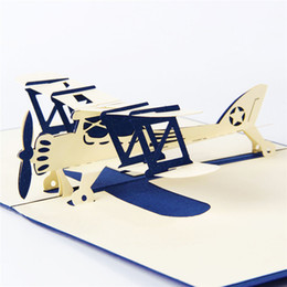 Wholesale Wholesale Model Airplanes - 10Psc  Lot 3D Airplane Model Greeting Cards Handmade 3D Laser Cut Pop Up Card Custom Christmas Birthday Greeting &Gift Cards