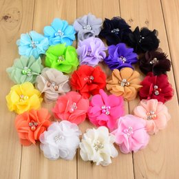 Wholesale Cheap Hair Fabric - wholesale sewn cheap beaded fabric chiffon ruffled flowers w pearl rhinestone center without clip for baby infant