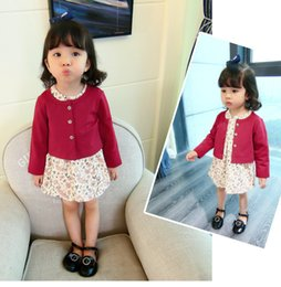 Wholesale Little Girls Outfits Cute - Baby little girls cotton linen outfits kids floral printed princess dress+cotton outwear 2pcs sets girls autumn clothing T0500
