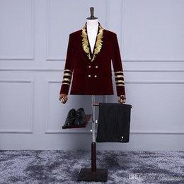 palastanzüge Rabatt Brand New 2017 Burgund Long Sleeves Bühnenkostüme 18. Jahrhundert Palace Gold Stickerei Anzug / Blazer