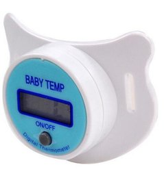 Wholesale Digital Lcd Soft Nipple Thermometer - 20pca lot Portable Digital LCD Pacifier Baby Nipple Thermometer Soft Safe Mouth Temperature Pacifier Chain Clip Holder