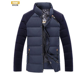 Wholesale Duck Favors - Fall-90% white duck down More men down jacket Youth favors winter coat corduroy splicing men's clothing of cultivate one's morality