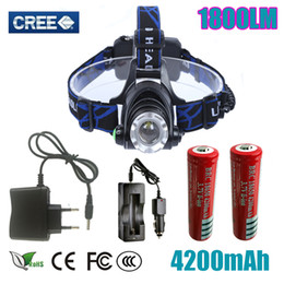 Wholesale Cree Headlamps For Sale - hot sale Headlight Headlamp Cree XM-L T6 led 1800LM rechargeable Headlamps Headlights lamp lights for 18650 battery or 3xAAA battery