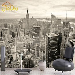 Wholesale Building Murals - Wholesale- Custom Mural European Retro Building Mural Bedroom Living Room TV Backdrop New York Black And White City Non-woven Wallpaper 3D