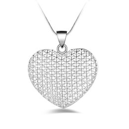 Wholesale Wholesale Jewelries - Love Heart Pendant Necklaces Filigree Design Pattern Vintage Cremation Jewelries Silver Plated Necklaces For Women YDHP106
