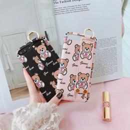 Wholesale Cute Black Bears - for iphone X case Leather Cute Brown Bear Hand grip strap soft tpu case for iPhone 7 8 6s 7 plus 6