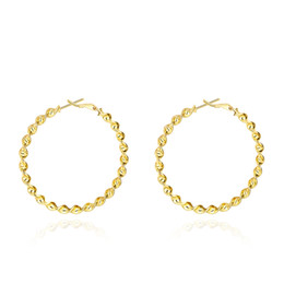 Wholesale Twisted Gold Plated Hoop Earrings - 5CM Big Round Circle Hoop Earrings 18K Gold Plated Classic Twisted Statement Earrings For Women Romantic Round Gift Trendcy Fashion Jewelry