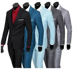 men s light gray suits Coupons - Wholesale- 2016 Hot SellingPeaked Lapel One Button 2Pieces(JacketPantTie) Slim Fit Fashion Men Suits Tailed Made Terno Black Light Gray