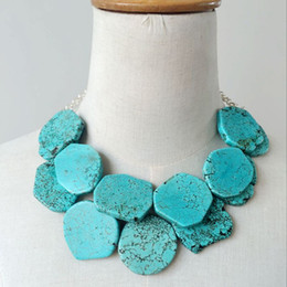 Wholesale Necklace Collar Fashion Design - Wholesale Free Shipping New Design Turquoise Stone Two Layered Necklace, Collar Choker Fashion Punk Statement Chunky Necklace