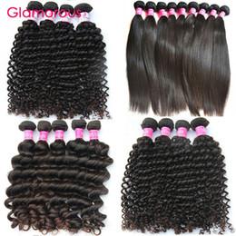 Wholesale Curly Piece - Glamorous Peruvian Human Hair 4 Bundles Brazilian Virgin Hair Extensions Malaysian Indian Curly Straight Deep Wave Natural Wave Hair Weaves