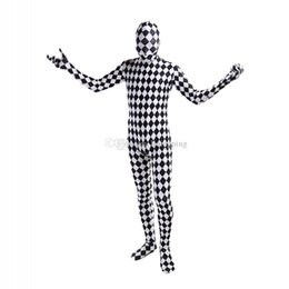 Wholesale black full unitard - Black and White Lattice Lycra Cosplay Costumes Unitard Spandex Full Body Zentai Catsuit For Halloween