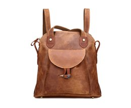 Wholesale Vintage Cotton Bags - Vintage Women Backpack Crazy Horse Leather Genuine Leather Antique Style Casual Shoulder Bag Backpack No Logo Wholesale From Factory
