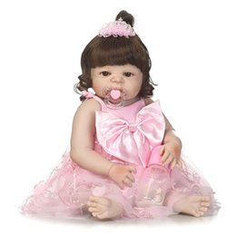 Wholesale body for doll - Wholesale- 56cm Full Body Silicone Bebe Reborn Baby Girl Dolls Toys for Girls Children Brinquedos Newborn Lifelike Bathe Doll