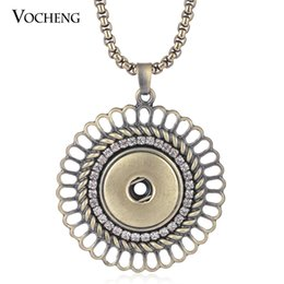 Wholesale Bronze Pendant Charm - NOOSA Snap Button Charms Necklace Jewelry Hollow out Inlaid Crystal Bronze Pendant Fit 18mm Button VOCHENG NN-504