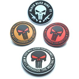 Wholesale Gps Sticker - 3.15 inch Wholesale high quality PVC Patches Punisher Skull patch GOD WILL JUDGE OUR ENEMIES-Red Eyes badge with magic sticker GPS-020