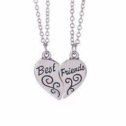 """Wholesale Partner Party - Two-part """"Best Friends"""" Friendship Silver Tone Broken Heart Pendant Long Chain Necklace Jewelry BFF Partner Necklaces Gift"""