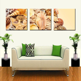 Wholesale Shell Oil Paintings Modern - Beautiful Various of Shell Paintings Modern Art Realist Sea Animal Shell Picture Wall Painting Living Room