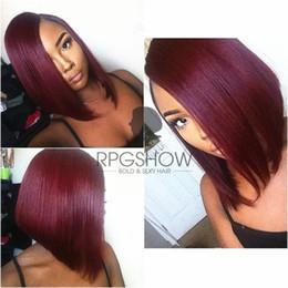 "Wholesale Burgundy Bob Wig - 12"" Ombre Burgundy Bob Wig Human Hair Glueless Full Lace Wig Bob Ombre Human Hair Full Lace Wig Straight Wigs For Black Women"