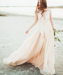 Wholesale Colored Chiffon Wedding Dresses - Sheer Lace Blush Pink Wedding Dress 2016 Sexy Plunging V-neckline See Through Colored Bridal Gowns Flowing Chiffon Vintage Beach Dresses New