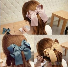 Wholesale Ponytail Holders For Bows - New Hair accessories Satin Ribbon Bow Hair Clips Barrette Ponytail Holder Hairgrips For Kids Lady 7 Colors