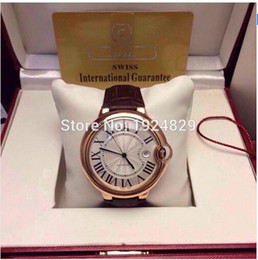 Wholesale Dresses Balloon - lUXURY Watch Classic Series Blue balloons White Dial Famous Dress Dial Rose Gold Case Brown Leather Strap Automatic Men's Watches 42mm