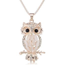 Elegante Gallant Sparkling Owl Crystal Charming Flossy Collane Pendenti Collana per le donne M099 da