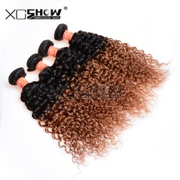 Wholesale Curly Burgundy Hair Extensions - Ombre Brazilian Virgin Hair Curly 5 bundles 7a Unprocessed Virgin Remy Human Hair Extensions 100% Unprocessed Virgin Brazillian Ombre Hair
