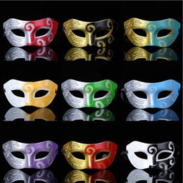 Wholesale Masquerade Masks Decorations - Retro Greek Roman Soldier Masks Multi Colors Venetian Mask Men Carnival Cosplay Decoration Party Masquerade Props Gift 9 Designs YW216