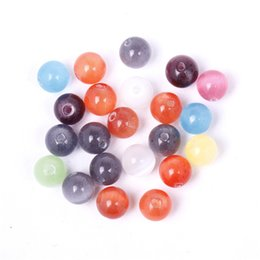 Wholesale Glass Beads For Eyes - 40pcs lot 4mm Round Cat Eye Glass Opal Beads DIY Fashion Bracelets Necklace Jewelry Making Best Gifts For Women