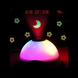 Wholesale Digital Table Design - LED Projection Alarm Clock Modern Design Night Light Color Changing Desk Clock Backlight Starry Digital Electronic Table Clock for Gift