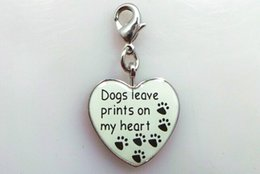 Wholesale Paw Dog Collar - metal enamel heart dangle dog paw print charm puppy pet animal lobster clasp dog collar charm jewelry bracelet and necklace