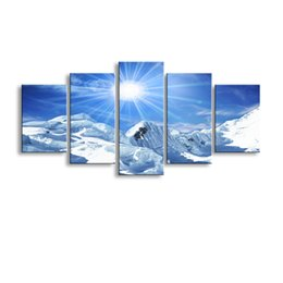 Wholesale Mountain Posters - 5 pieces high-definition print Snow mountain scenery canvas oil painting poster and wall art living room picture PL5-209