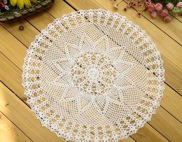 Wholesale Crochet Hot Pads - Wholesale- 50CM HOT lace cotton round table place mat cloth pad crochet placemat Cup glass coaster doilies mug holder Kitchen tableware