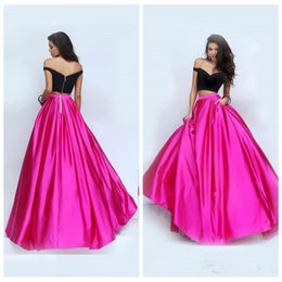Wholesale Formal Corset Two Piece Gown - 2017 Sexy Off Shoulder Black Top Corset Prom Dresses Fuchsia Skirt Pleated Two Piece Formal Girls Special Occasion Evening Gowns Cheap